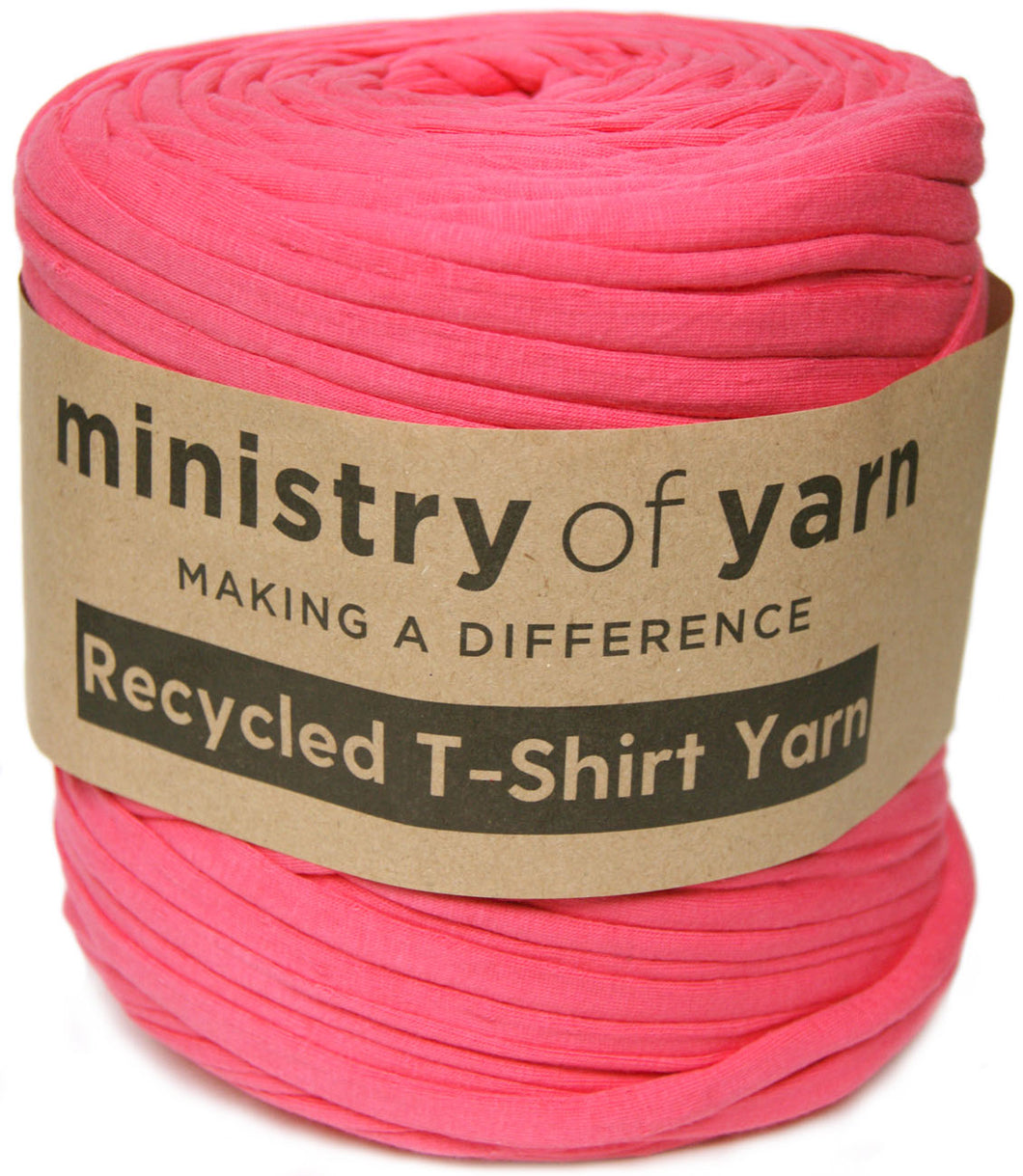 Bright Pink recycled t-shirt yarn Australia