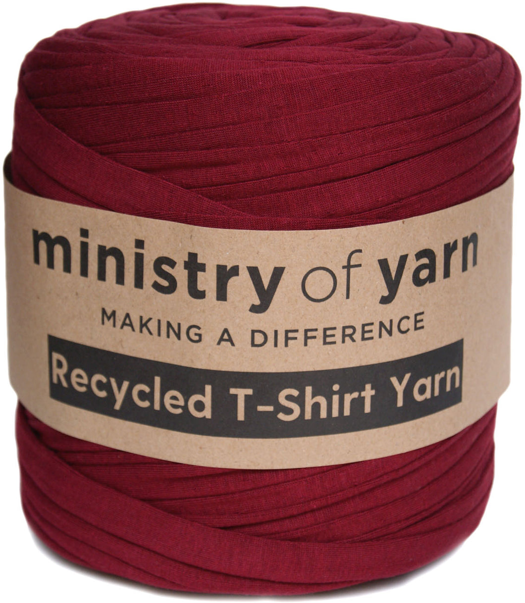 dark red socially responsible recycled t-shirt yarn Australia