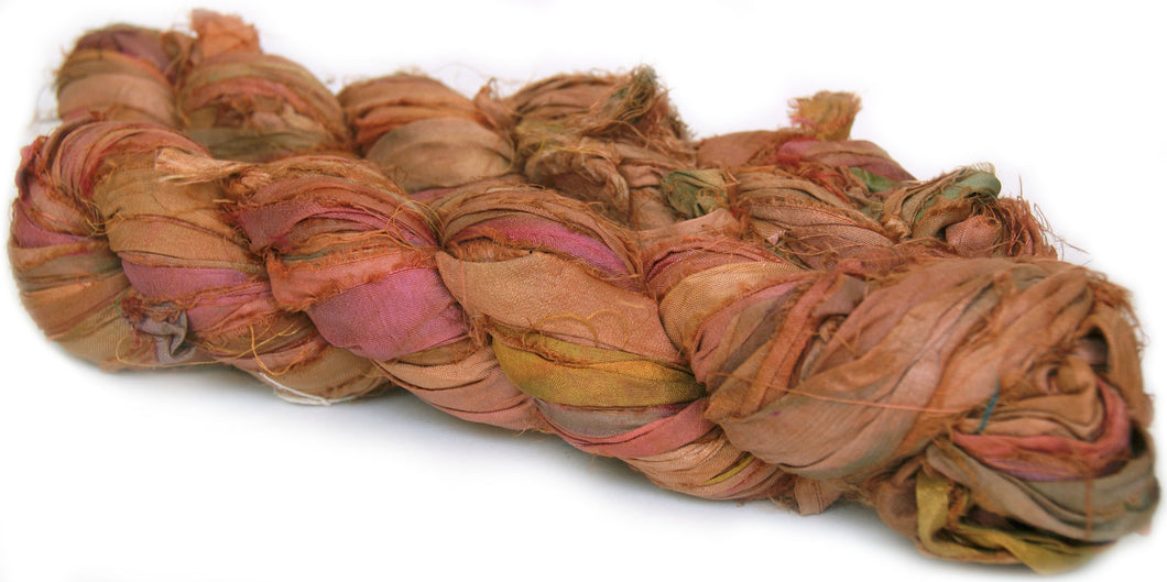 Yellow and pink recycled silk sari yarn Australia