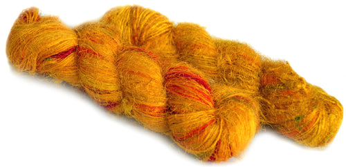 golden recycled silk sari spun yarn Australia