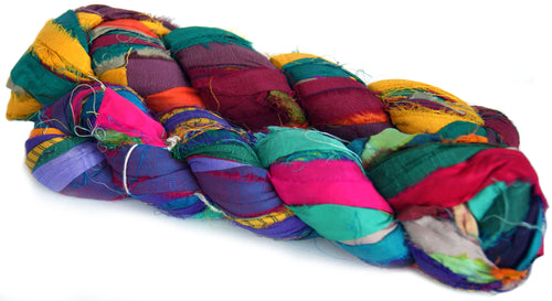 Recycled multicolour silk sari yarn Australia