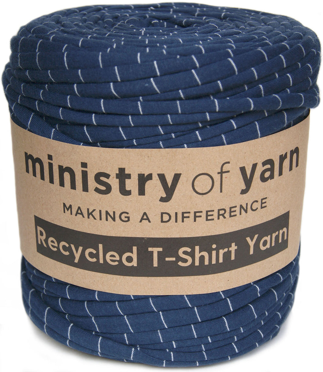 navy and white stripes recycled t-shirt yarn Australia