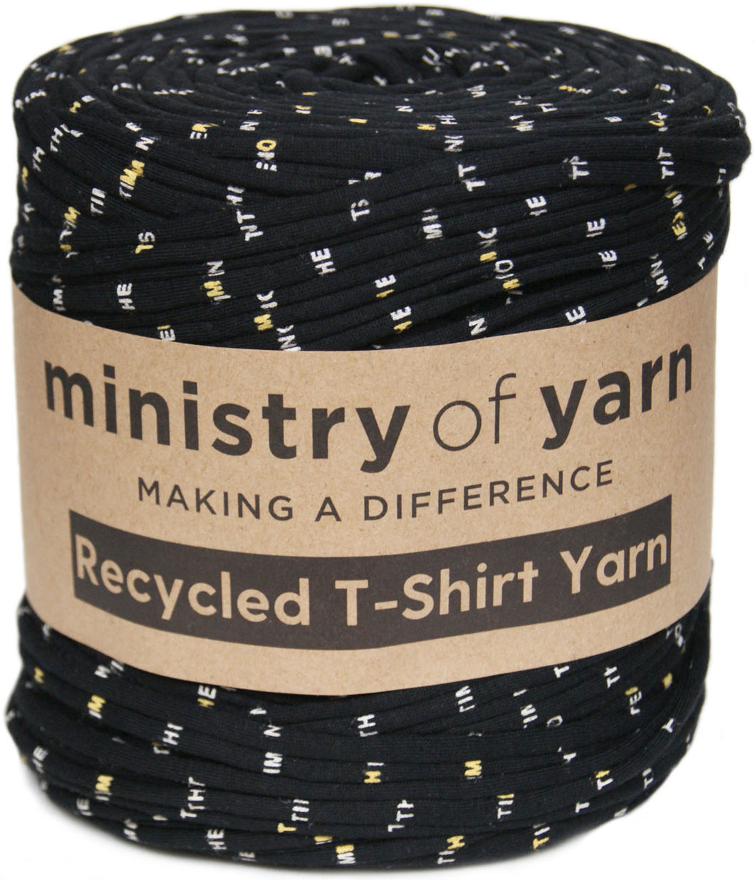 Black printed recycled t-shirt yarn Australia