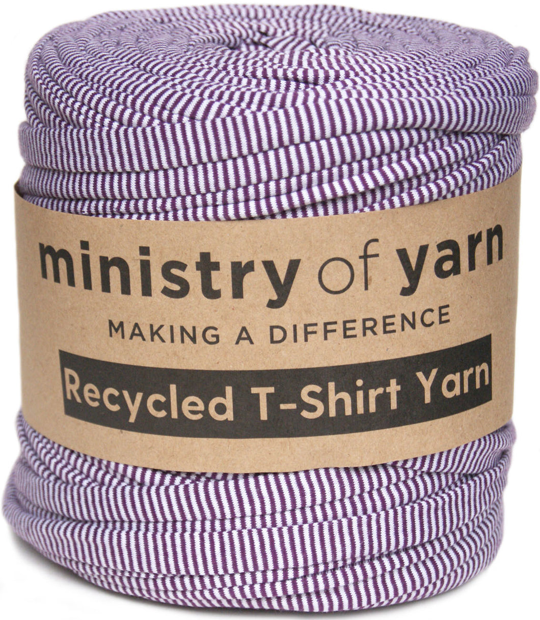 Purple and white stripe recycled t-shirt yarn Australia