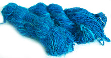Bright Blue recycled spun sari silk yarn Australia