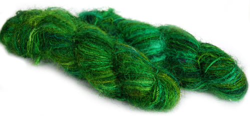 Bright Green recycled spun sari silk yarn Australia