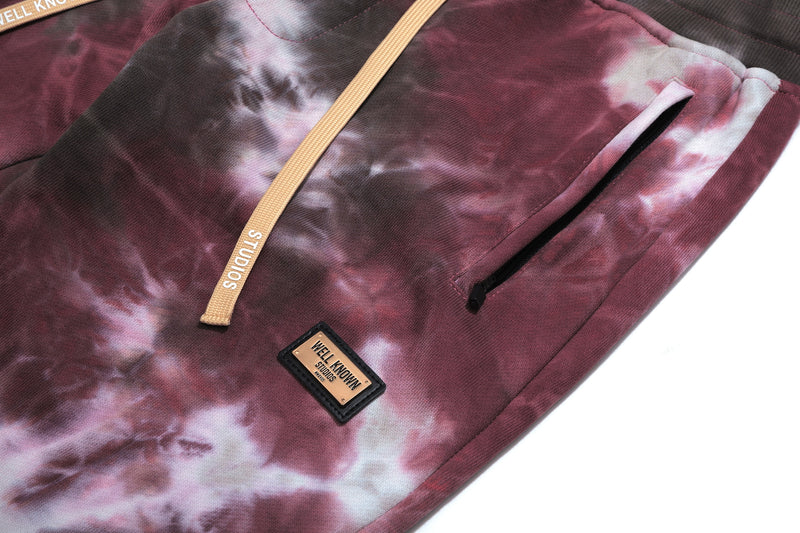 Well Known Studios Houston Sweatpants - Burgundy Tie Dye
