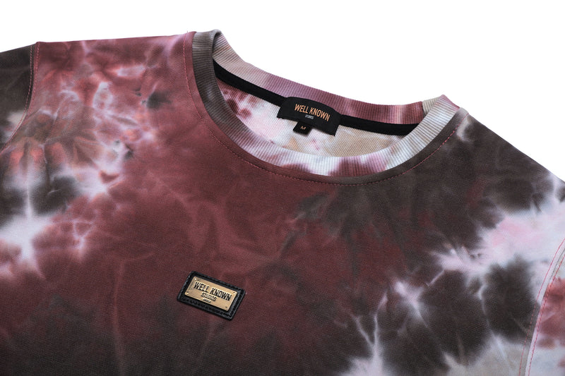 Well Known Studios Grand Tee - Burgundy Tie Dye