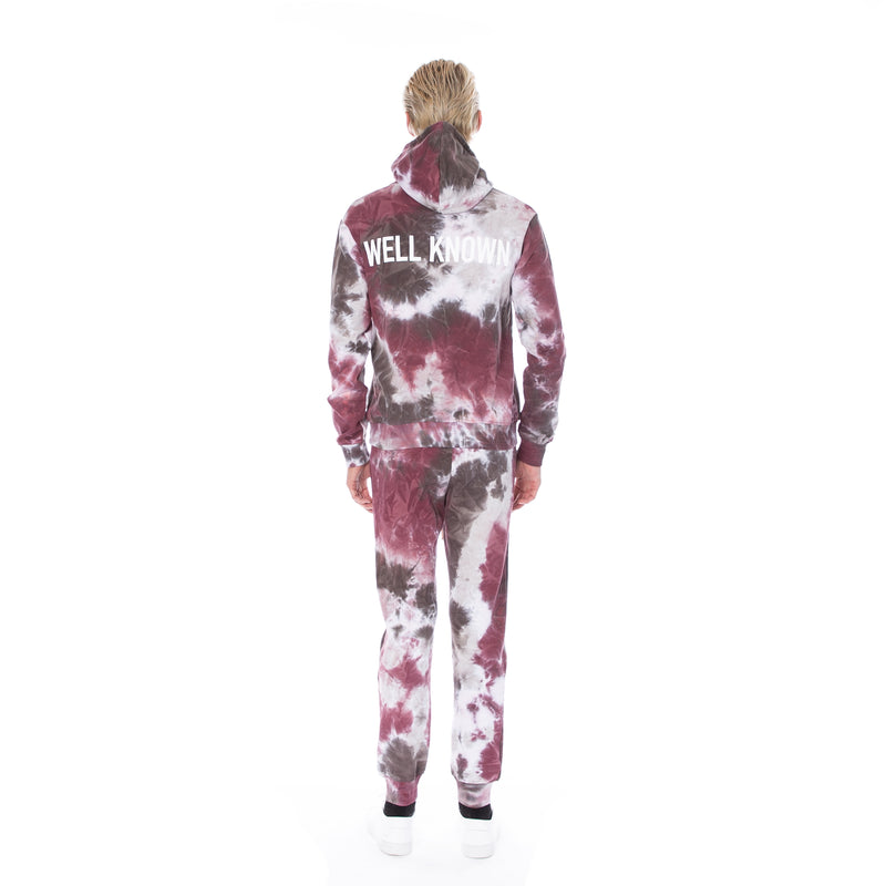 Well Known Studios Houston Hoodie - Burgundy Tie Dye