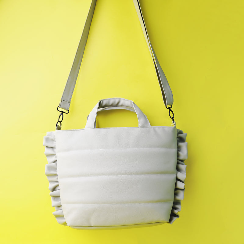 Ruffles Puff Tote Bag Grey - Mannequin Plastic - hglhouse