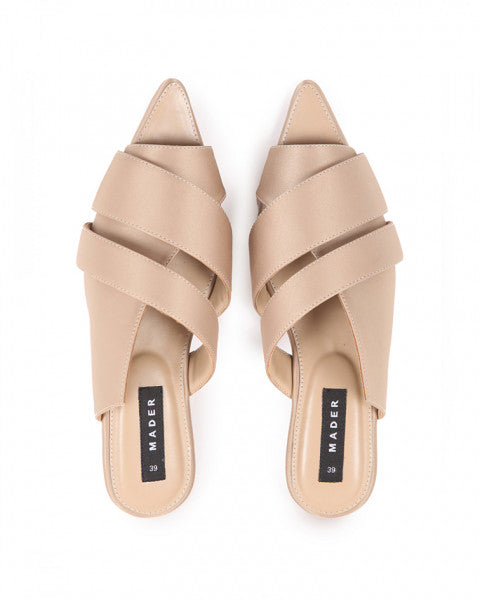 OPEN TOE MULES SATIN GOLD - MADER