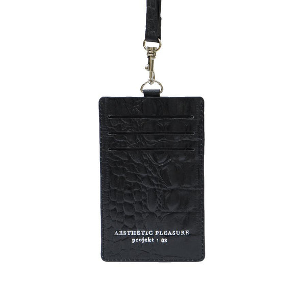 DENTE LANYARD CARDHOLDER CROC BLACK - AESTHETIC PLEASURE
