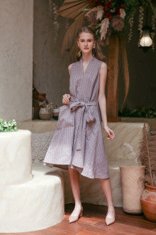 Odette Dress In Curry Rice Dress Grey - Maven - hglhouse