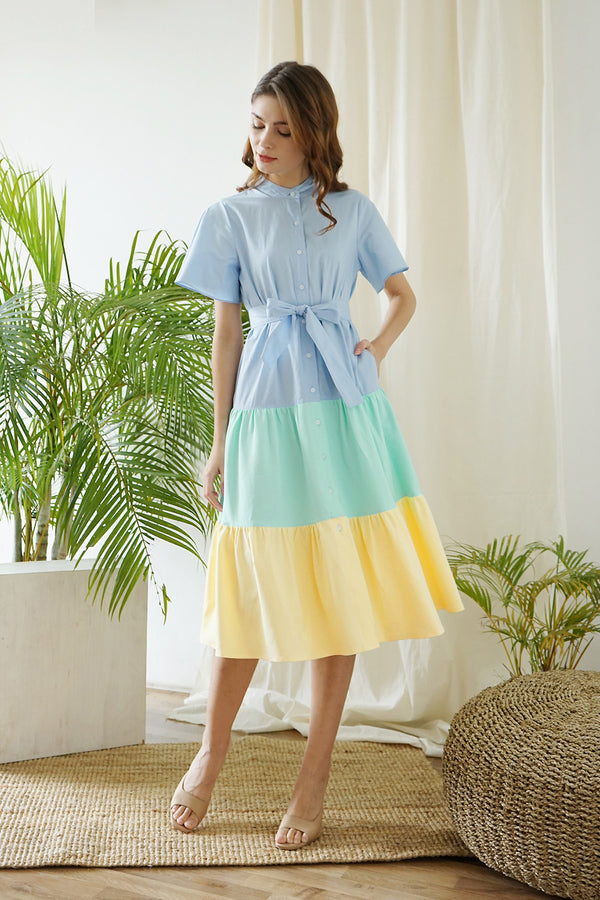 Pastel Shortcake Dress Blue - hglhouse