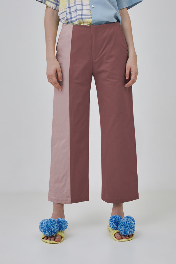 MAUVE SPLIT TROUSERS - ARGYLE OXFORD - hglhouse