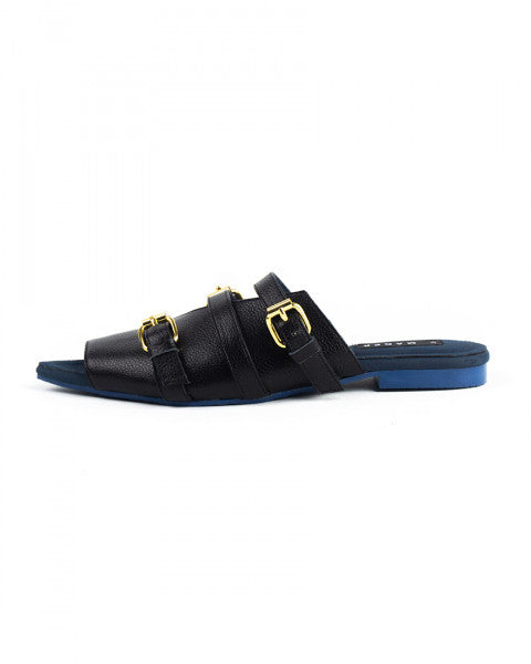 Toe Mules Noir/Classic Blue Outsole - Mader