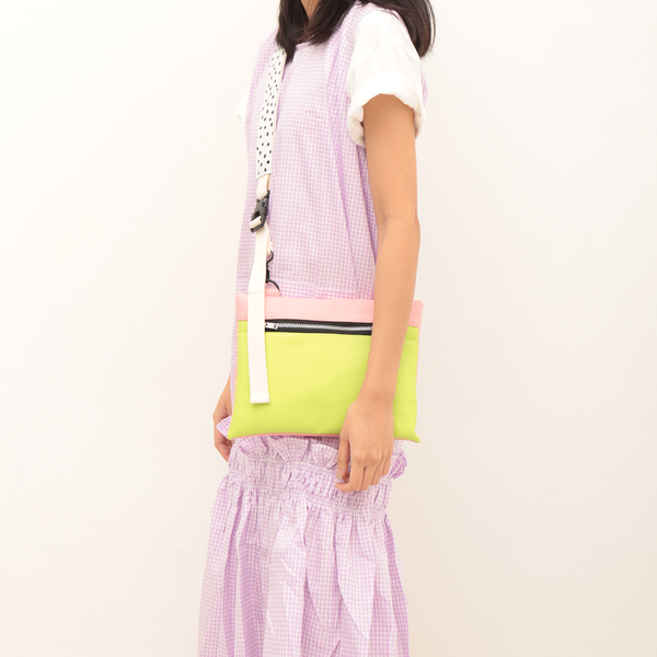 Zippy Flat Bag Pink Green - Mannequin Plastic