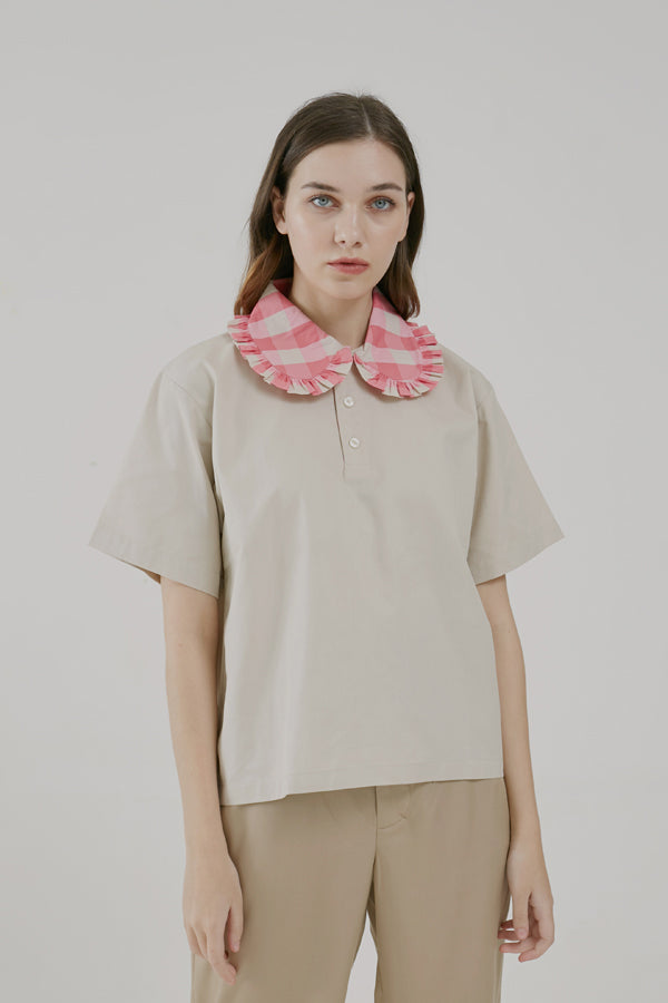 Girl Polo Shirt In Gingham Pink - Argyle Oxford