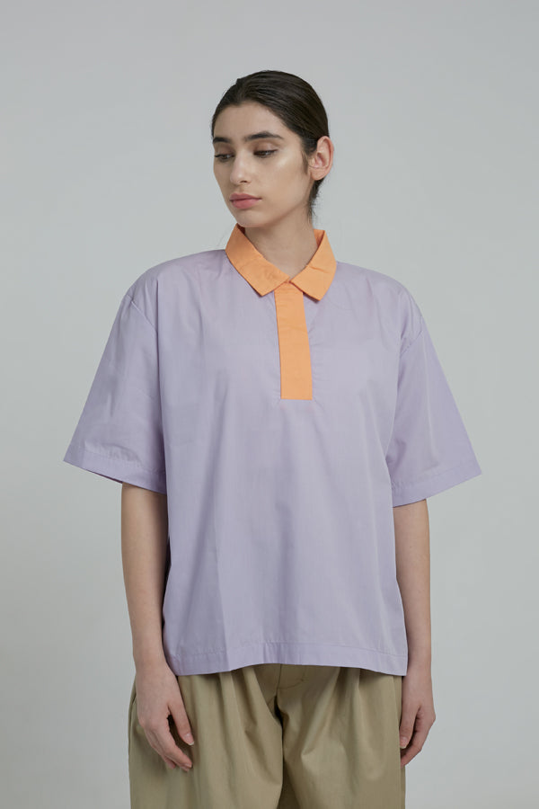 Sunset Oversized Polo Shirt - Argyle Oxford - hglhouse