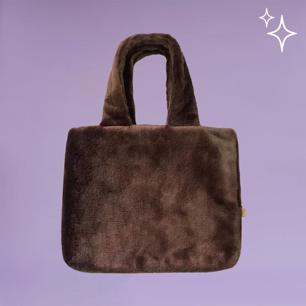 Brown Fluffy Totebag - Bling It On - hglhouse