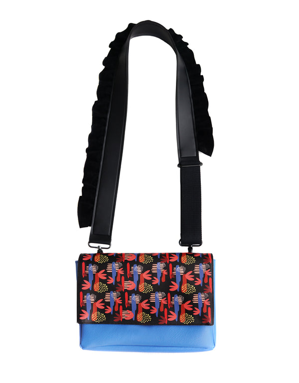 Color Flower Flap Bag Blue Black - Mannequin Plastic - hglhouse