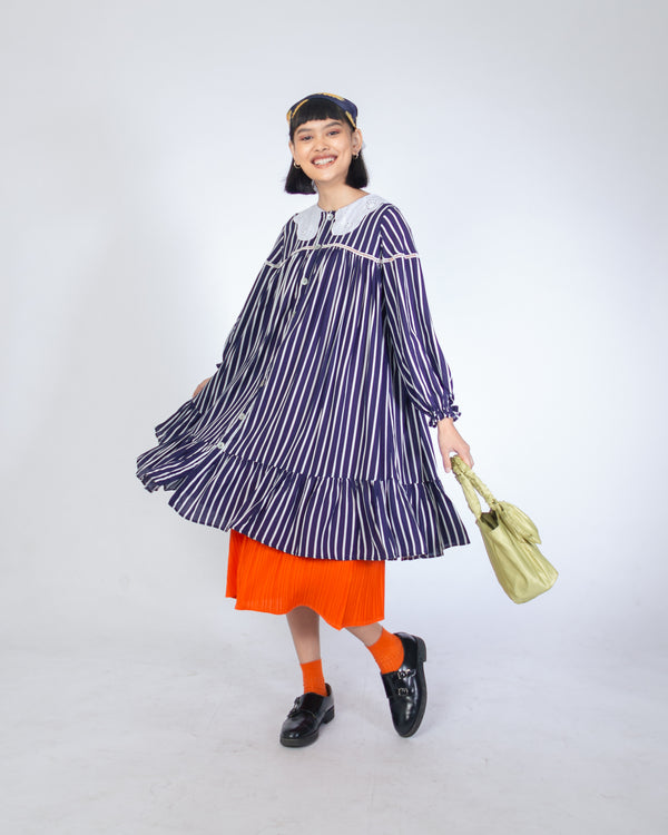 RAYA DRESS NAVY STRIPES - LADOUCHEVITA