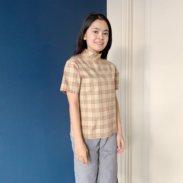 High Neck Plaid Shirt Beige - Pop.u