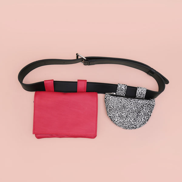 Double Waist Bag Red Pattern - Mannequin Plastic