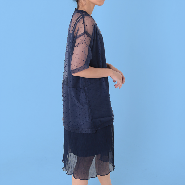 Sheer Stack Dress Navy - Chiel