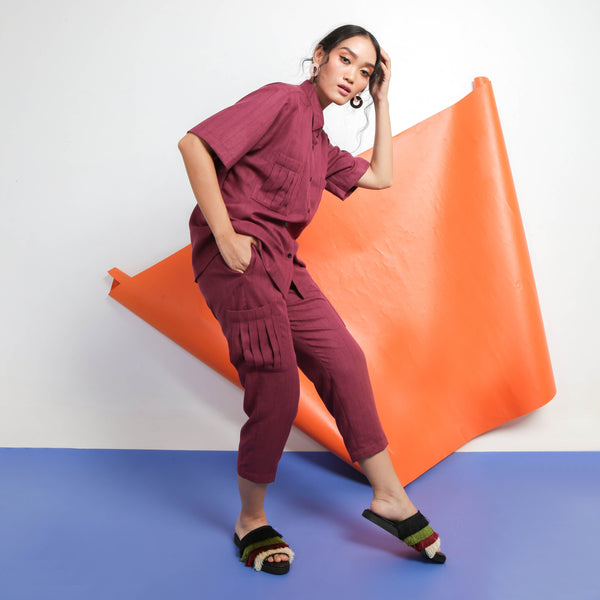Zazu Pants Maroon - Temporary Anxiety - hglhouse