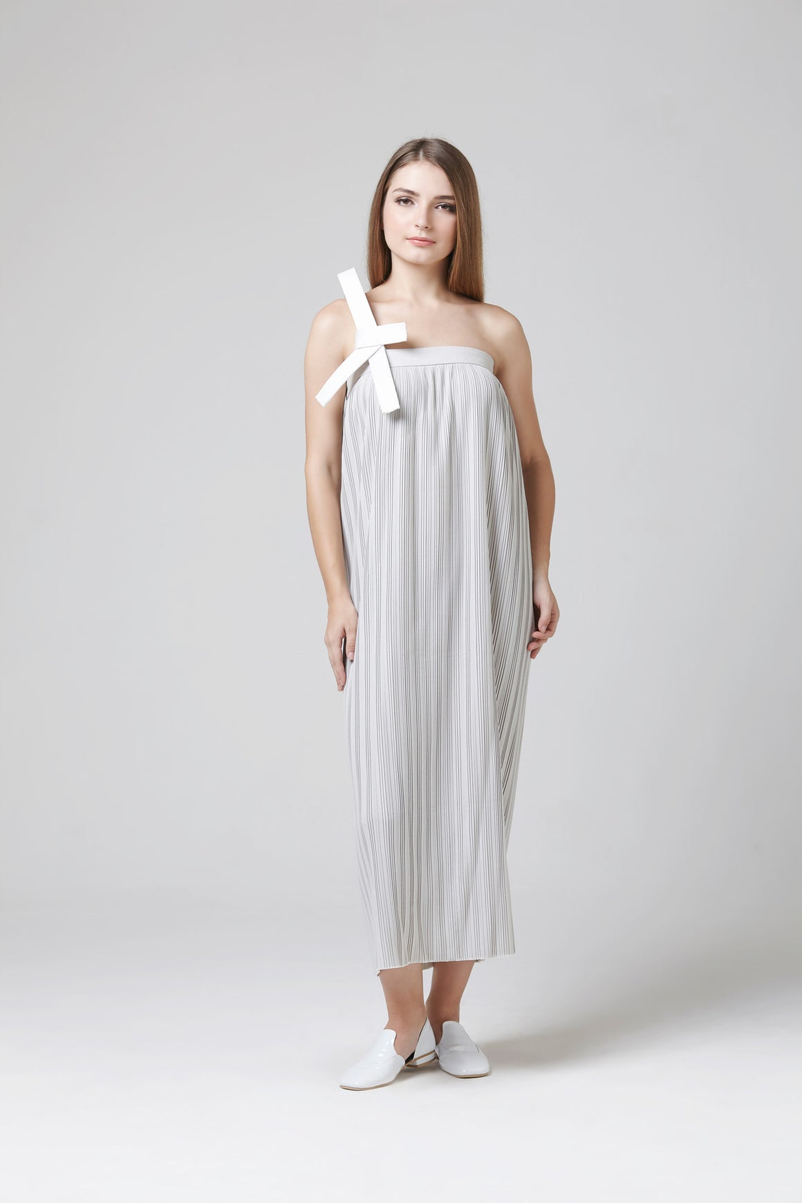 GRACIE DRESS WHITE GREY
