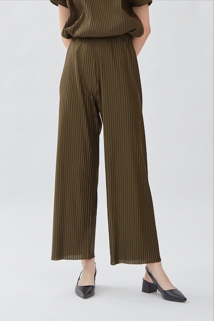 Pvra Pleated Trousers Olive - Shopatvelvet - hglhouse