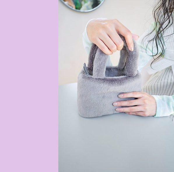 Grey Fluffy Bag  - Bling It On - hglhouse