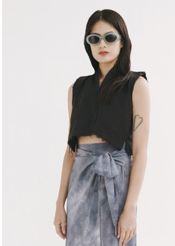 Black Raw Sialng Top - Tees And Scissors