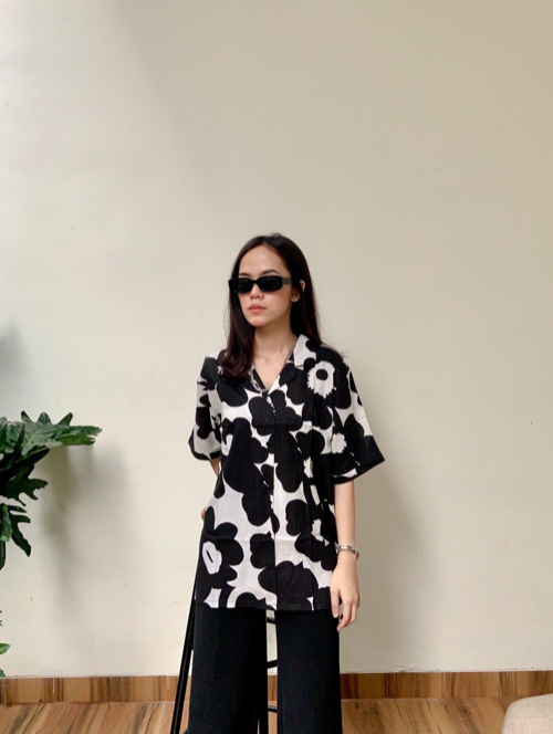 Summer Shirt Black Flower - Monday To Friday