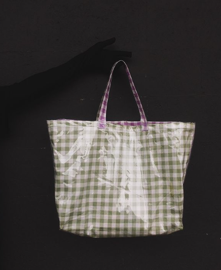 Callie Gingham Mint And Lilac - Satchel