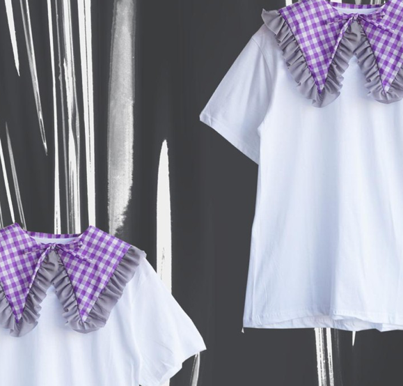 Bold t shirt - collar gingham short - Pinx
