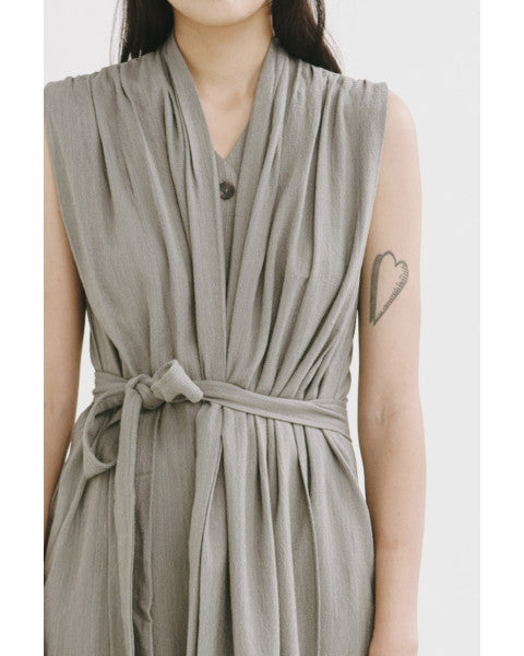 Ash Green Wrapped Dress - Tees And Scissors