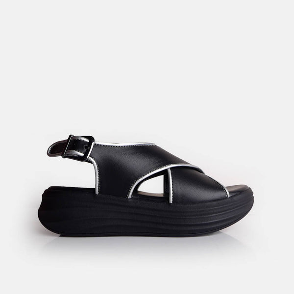 Cross Sandal Black Silver - Mks Shoes