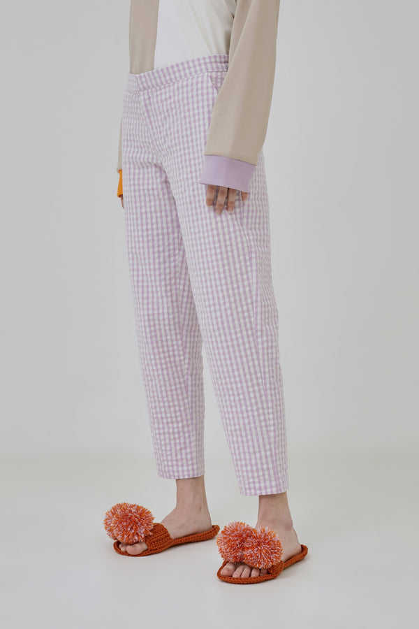 Lilac Gingham Trousers - Argyle Oxford - hglhouse