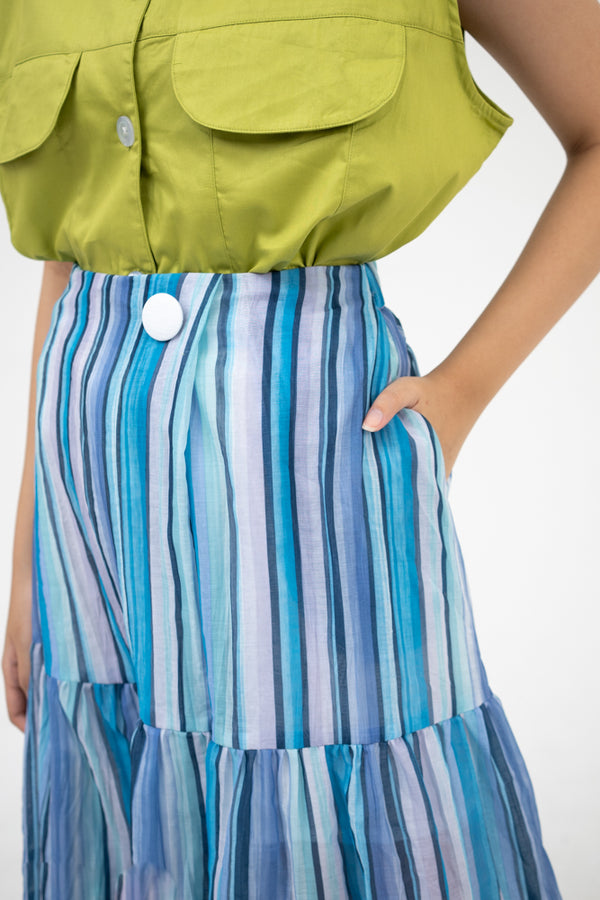 Greta Skirt in Multi Stripes - Nult Supply - hglhouse