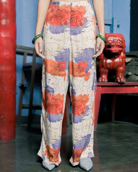 OX WATERCOLOR LONG PANTS PRINTED LONG PANTS - 3MONGKIS