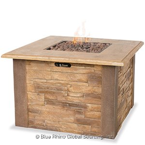 Try Our Square UniFlame Outdoor Propane Fire Pit Table With Faux Stone Mantel!
