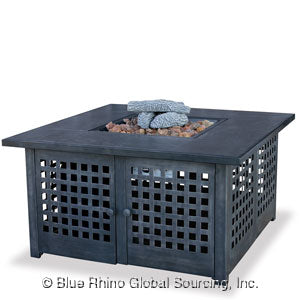 You'll Love This Square UniFlame Outdoor Propane Fire Pit Tables Square With Tile Mantel!