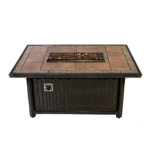Shop Rectangle Outdoor Propane Fire Pits Tretco Linear Wicker!