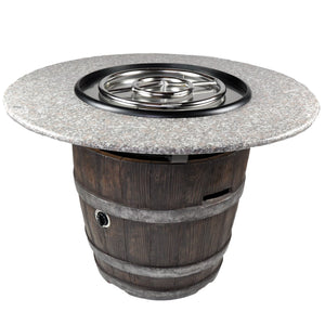 Round Outdoor Propane Fire Pits Tretco Wine Barrel III Burner And Trim!