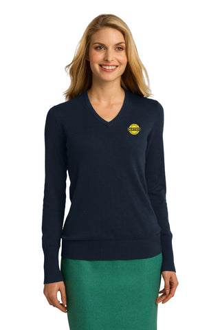 Mathy Construction Company Ladies V-Neck Sweater