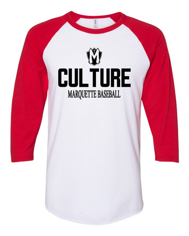 Marquette Baseball Player 3/4 Sleeve