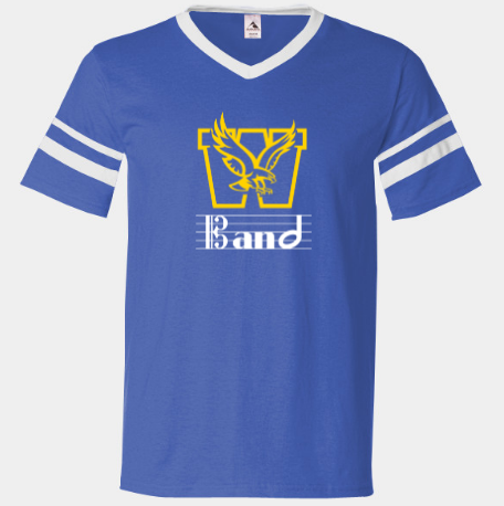 Wahlert Band V-Neck with Striped Sleeves