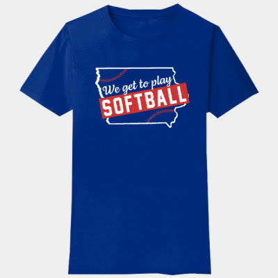North Scott Softball We Get To Play Softball- adult t-shirt
